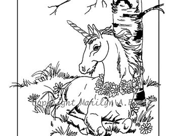 ADULT COLORING PAGE; digital download, unicorn foal, art, drawing, ink, fantasy, original art, flowers, forest, birch tree,