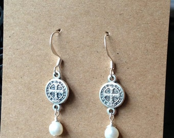 St. Benedict and Pearl Earrings