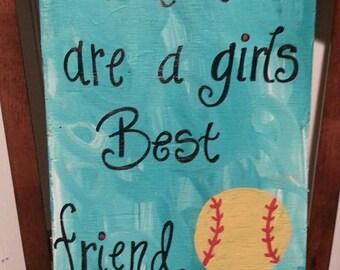 Diamonds Are A Girls Best Friend Softball Sign Softball