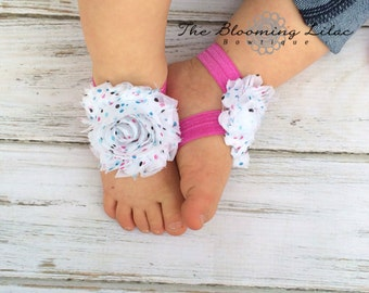 Sprinkle Pink and White Baby Barefoot Sandals - Newborn Sandals - Baby Clothing - Newborn Clothing - Baby Girls - Photography Prop