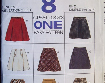 CLEARANCE -- McCall's 7777, Sizes 4, 6, 8. Versatile skirt pattern with different options. Pattern is uncut and FF.