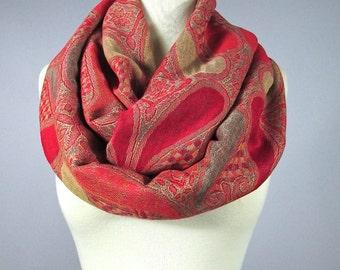 Orange scarf, paisley scarf, pashmina, red scarf, fall scarf, winter scarf