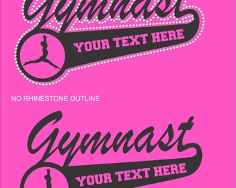 Gymnastics Shirt/Gymnast Shirt/ Personalized Gymnastics Shirt/ Vinyl Rhinestone Personalized Gymnast Gymnastics Mom Team Name Mascot T Shirt