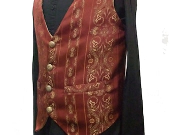 Steampunk Mens Brown and gold brocade vest