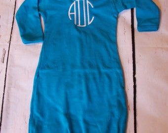 Monogrammed Turquoise Baby Gown