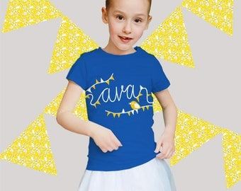 Party! Personalized kids t-shirts with festive flag banner print (and the name of the child)