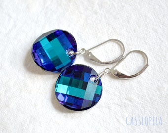 Swarovski Crystal Blue earrings, Swarovski Twist earrings, Bermuda Blue Crystal earrings, Swarovski bermuda blue earrings