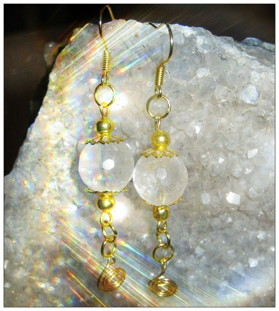 Handmade Gold Earrings with Facetted Rock Crystal by IreneDesign2011