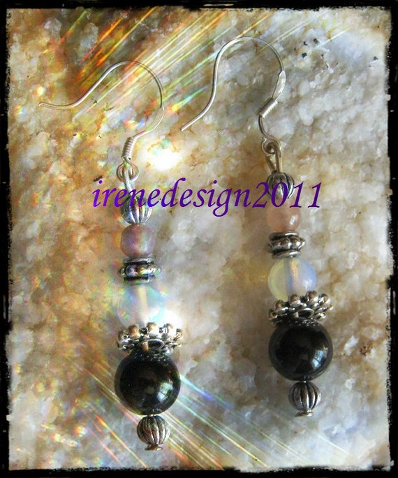 Handmade Silver Earrings with Watermelon Tourmaline, White Opal & Black Onyx by IreneDesign2011