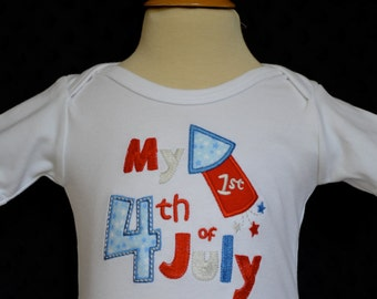 Personalized My First 4th of July Applique Shirt or Onesie Girl Boy