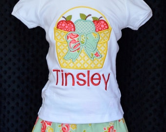 Personalized Basket of Apples or Pumpkins with Bow Applique Shirt or Onesie for Boy or Girl