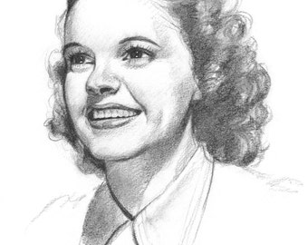 Young Judy Garland Portrait Drawing Print