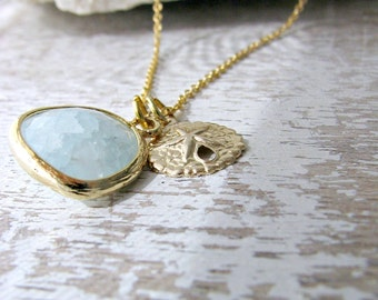 Alice Blue Necklace Sand Dollar Necklace Alice Blue Jewelry Sand dollar jewelry 14k Gold Filled Beach Jewelry Beach Wedding Bridesmaid Gifts