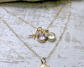 Layered Sand dollar Necklace Birthstone Necklace 14k Gold Filled starfish Necklace Swarovski Birthstone Necklace Sand Dollar Jewelry Beach