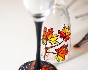 Autumn Champagne Glasses - Fall Wedding Flutes - Set of 2 Toasting Flutes