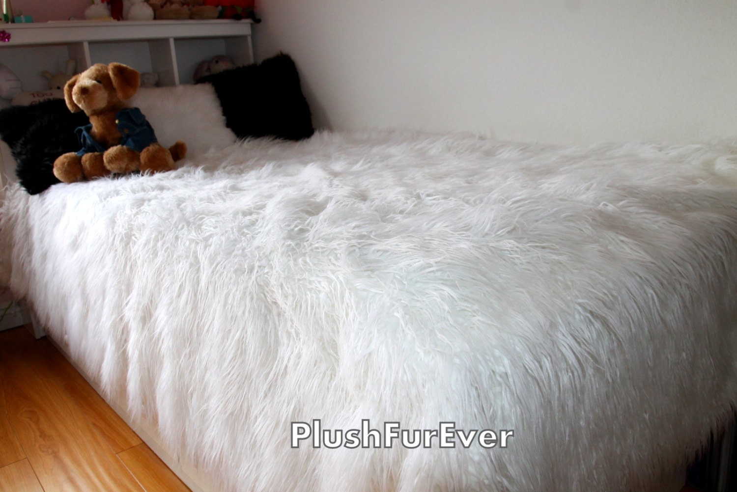 White mongolian faux fur bedspread luxury king queen twin size - Housse de couette fausse fourrure ...