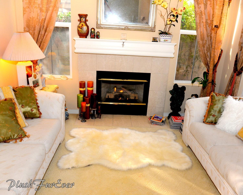 new plush ivory white fur sheepskin bear skin rug 3 u0027 x 5 u0027 medium
