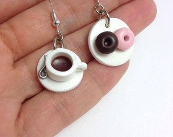 Fun Earrings, Mismatched Earrings, Food Earrings, Cute Earrings, Coffee Jewelry, Kawaii Jewelry, Mini Food, Fun Earrings, Unusual Earrings