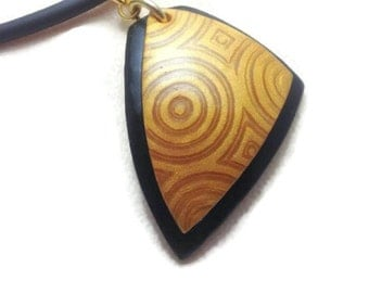 Pendant, Pendant Necklace, Unique Pendant, OOAK Necklace, Gold and Black Pendant, Abstract Art Necklace, Polymer Clay Art, Statement Pendant