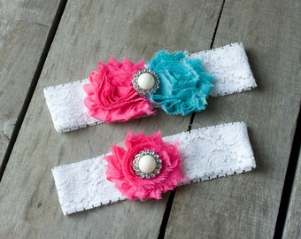Bright Pink and Turquoise Wedding Garter Set, Bridal Garter, Wedding Garter, Shabby Chic Garter
