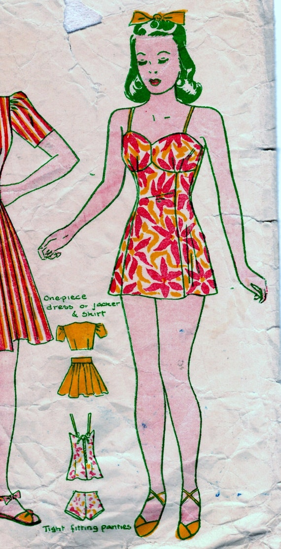 Ladies 1940s bathers pattern 32 bust for Design your own bathers