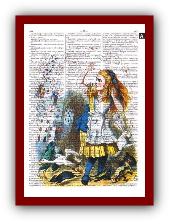 Alice In Wonderland Artwork Wall Art Home Decor Art Print Upcycled