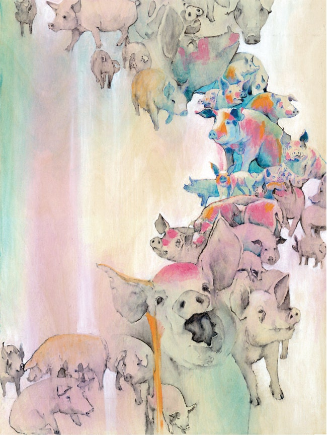 "Numbered ""Pigs"" print, Series of 50,  Animal liberation art."