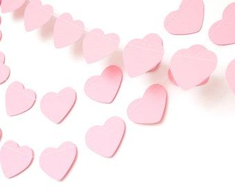Pastel paper garland bunting, wedding garland decor, heart garland, party home decor, nursery banner