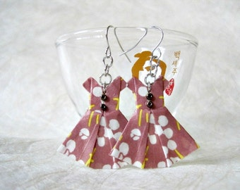 Origami Jewelry - Paper Dress Earrings - Paper Anniversary - Paper Jewelry - Origami Earrings - WC26