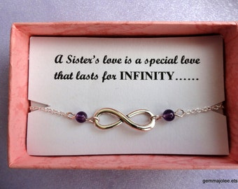 Sister gift, Infinity bracelet, Silver infinity amethyst bracelet, Silver bracelet, Infinity jewelry, Bridesmaids gifts