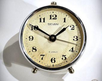 70's Retro Style Vintage Russian Mechanical Alarm Clock SEVANI from Soviet Union  - 4 Jewels