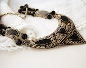 Vintage Necklace, Vintage Art Deco Necklace, Tribal Necklace, Black Stones, Silver color