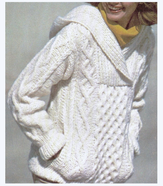 Aran Knitting Pattern With Hood : Aran Knit Hooded Sweater Super Sweet Pattern by CowichanValley