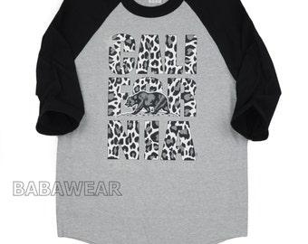 California Republic Bear Baseball Raglan T-Shirt Cheetah Print Leopard