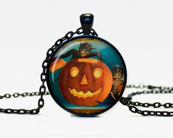Halloween pumpkin necklace Trick or Treat Halloween Pendant Halloween  jewelry black orange brown