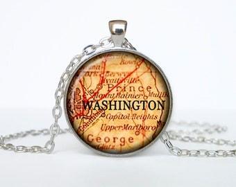 Washington map pendant, Washington map necklace, Washington map jewelry, Washington