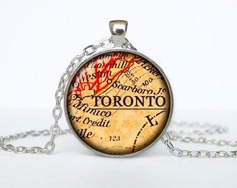 Toronto map pendant, Toronto map necklace, Toronto map jewelry, Toronto