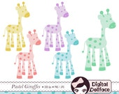 Giraffe Clip Art, Baby Shower Animal Clipart, Pastel Cute Graphics