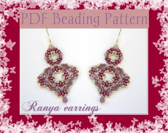 DIY Beading pattern Ranya earrings with Superduo beads / PDF tutorial with detailed instructions, images and diagrams