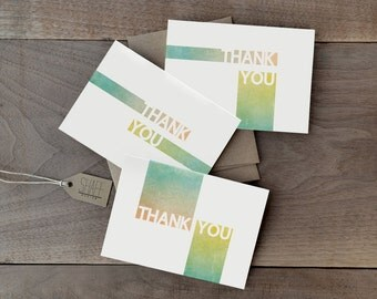 Rustic geometric thank you cards - Pastel mint thank you card set - Modern thank you cards