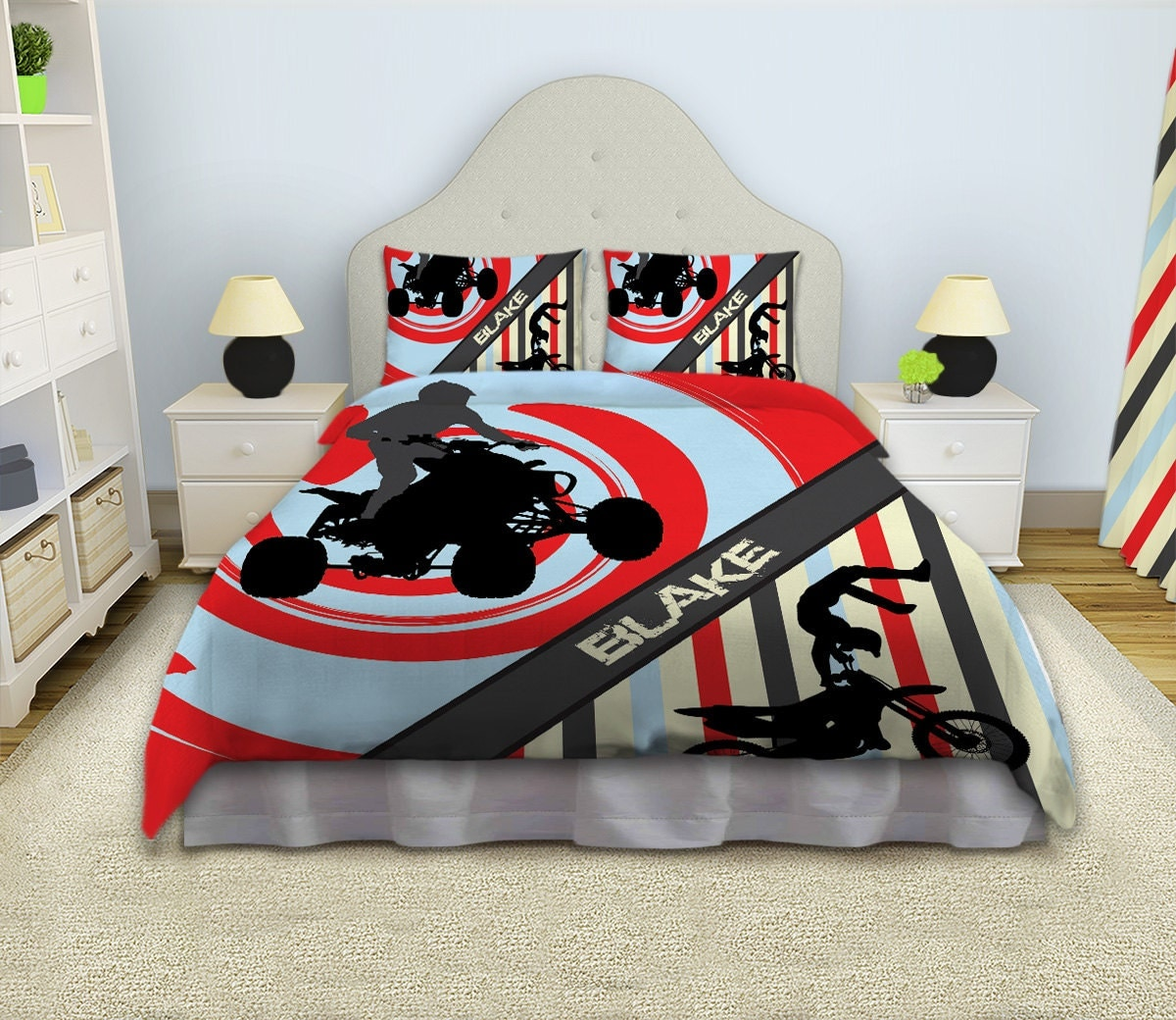 Motocross comforter dirt bike bedding by eloquentinnovations for Dirt bike bedroom ideas