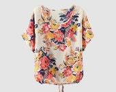 Floral Chiffon Blouse, Oversize Women Summer Top