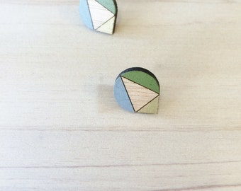 Hand Painted Laser Cut Wood Geometric Droplet Pattern Stud Earrings- Olive Green, Gold and Grey