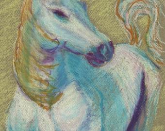 Horse - Original drawing in oil pastel