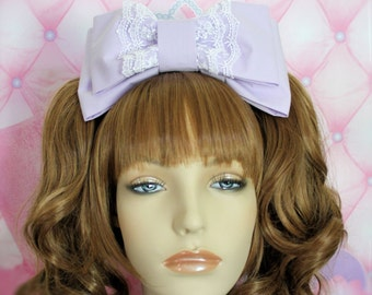 Lolita Head Bow-Oversized Head Bow-sweet lolita bow-lavender-headband-head bow-lolita accessory-fairy kei accessory