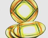 Vernon Kilns - 4 Lunheon Plates -- Tam O Shanter Plaid Pattern