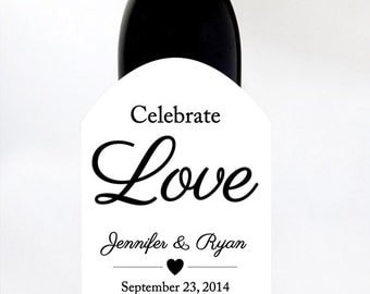 Custom Wine Labels Wedding with Names and Date