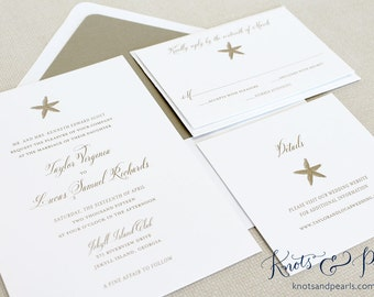 Starfish Wedding Invitations, Starfish Invitations, Beach Wedding  Invitations, Tropical Wedding Invitations, Destination