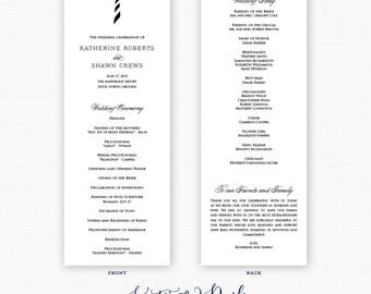 """Lighthouse Wedding Programs, Nautical Wedding Programs, Coastal Wedding Programs, Beach Wedding Programs, """"Lighthouse"""""""