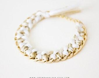 Ivory / Braided Chain Bracelet / Curb Chain / Woven Bracelet / Bridesmaid / Gold Chain Bracelet / Friendship Bracelet / White Braid Bracelet
